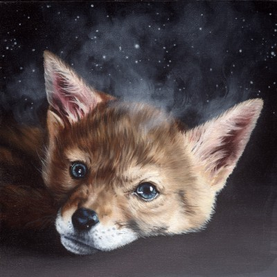 "Antares (2014), oil on board, approximately 12"" square"