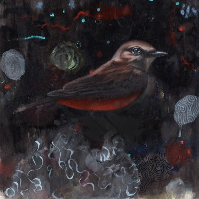 "Flycatcher (2015), oil on paper, approximately 12"" square"
