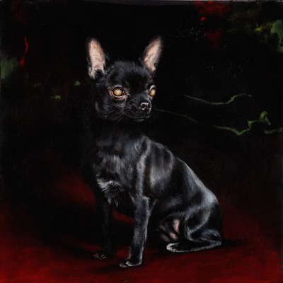 "Rocky (2014), oil on paper, approximately 12"" square"