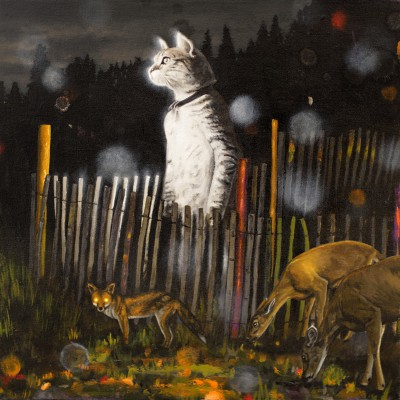 "Standing Cat in a Sheepcote (2014), oil on board, approximately 16"" square"