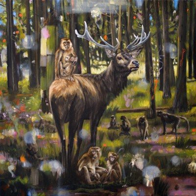 "Monkey Forest (2014), oil on canvas, approximately 32"" square"