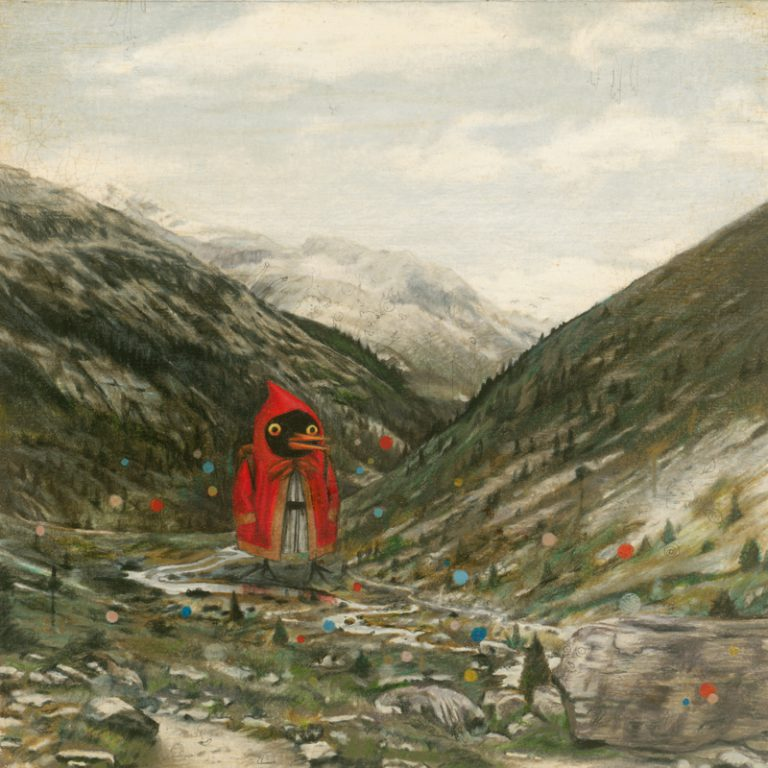 Across the Alps, 2008, mixed media on paper, 20 x 20 cm