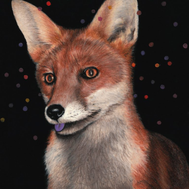 Fox with Purple Tongue, 2009, colored pencil and oil on paper, 15 x 15 cm