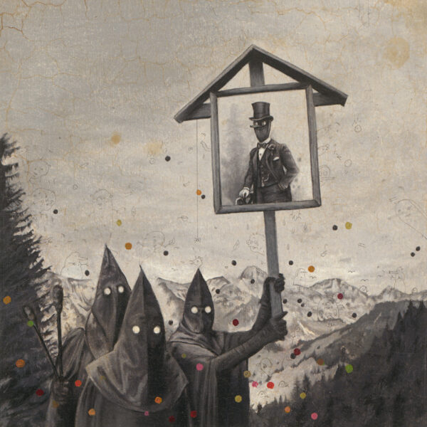 Gugl Men with Wayside Shrine, 2008, colored pencil and oil on paper, 20 x 20 cm