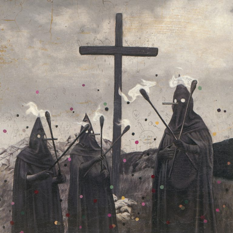Gugl Men with Torches, 2008, colored pencil and oil on paper, 20 x 20 cm