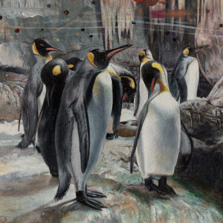 The Penguins, 2009, colored pencil and oil on paper, 15 x 15 cm