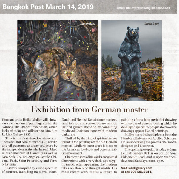 Bangkok Post, March 14, 2019 – Exhibition of German master Heiko Müller