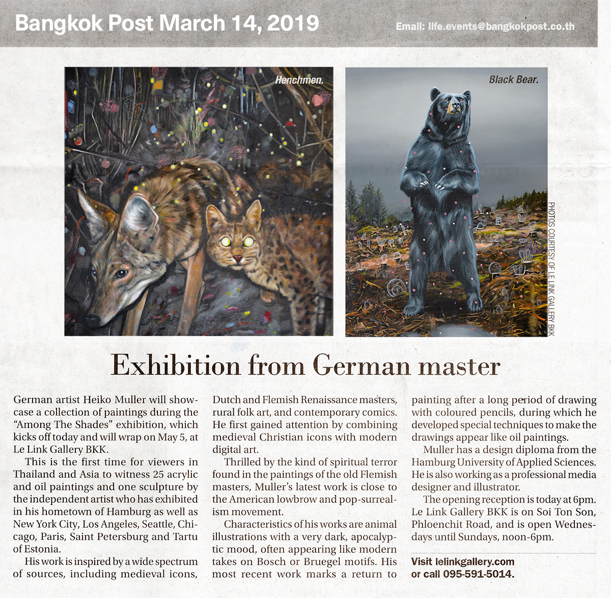 Bangkok Post, March 14, 2019 – Exhibition of German master Heiko Müller
